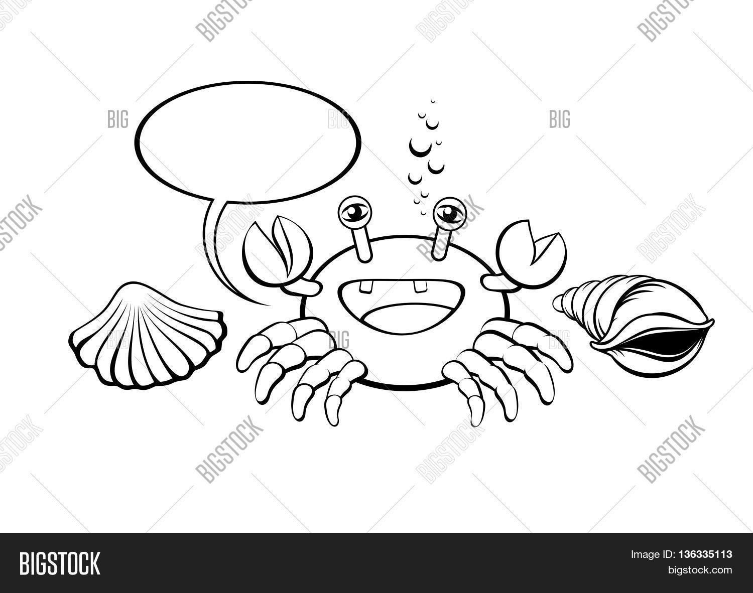 crab icon and seashell with comic speech bubble cute cartoon baby