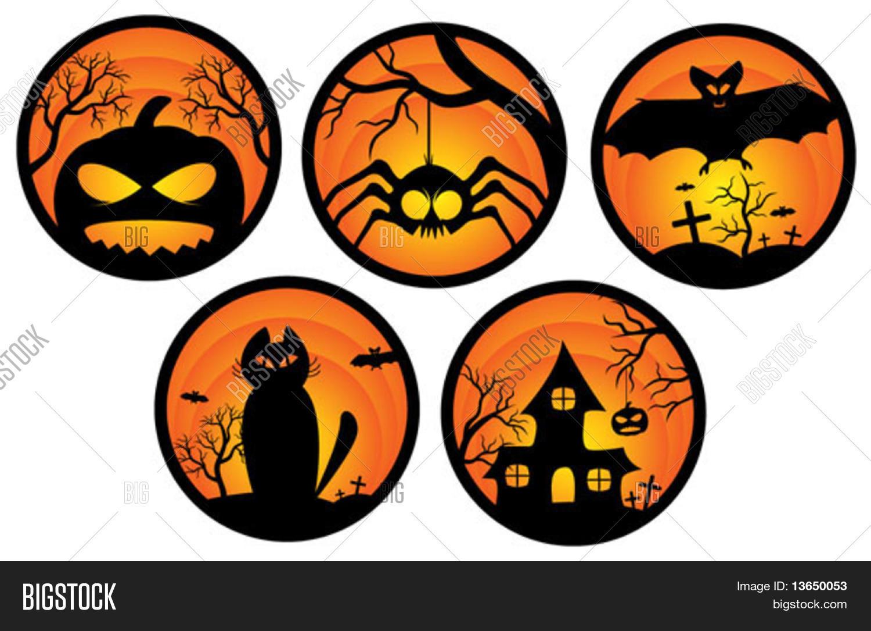 Autumn Colors Set Halloween Stickers Vector Vector Amp Photo Bigstock