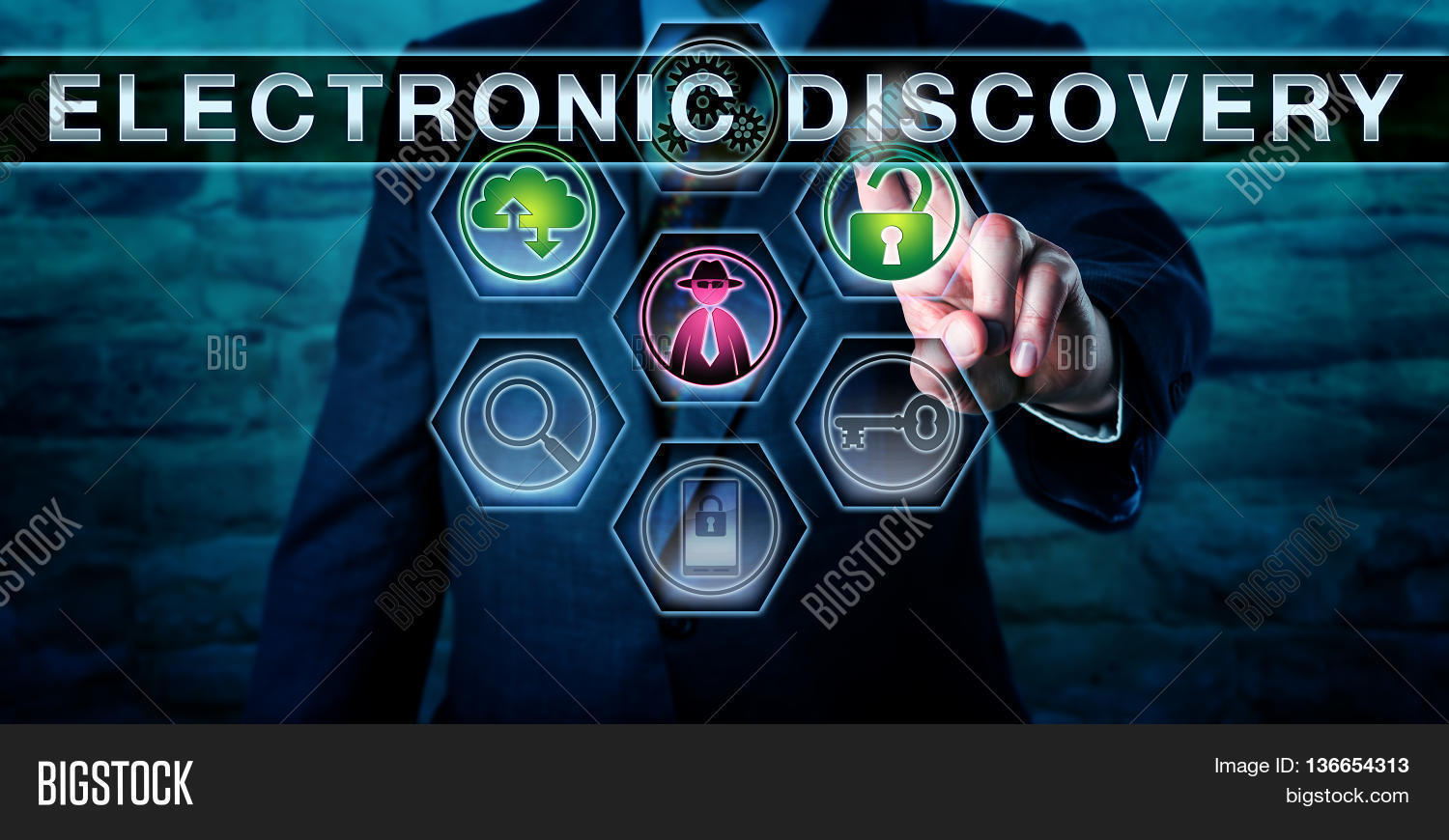 investigator pushing electronic discovery on a screen a black hat hacker icon is lighting up black hat unique lighting