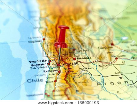 Map with pin set on Santiago de Chile.