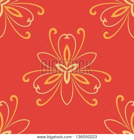 Floral vector ornament. Seamless abstract classic pattern with flowers. Red and golden pattern