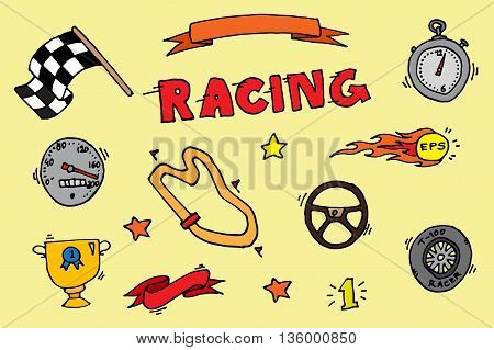 Racing icons set. Vector illustration, EPS 10