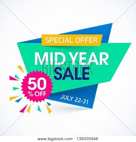 Mid Year Sale paper banner design template. Big sale, special offer, discounts up to 50%. Vector illustration.