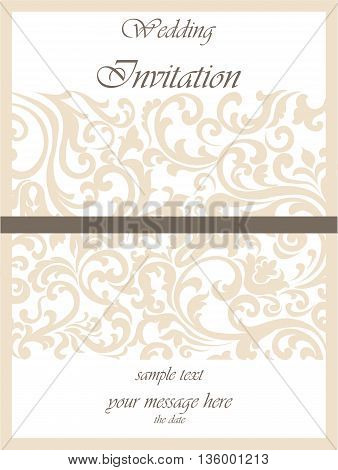 Wedding Invitation card with lace ornament. Gold cream color. Vector
