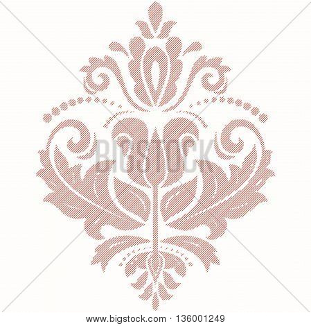 Elegant vector ornament in the style of barogue. Abstract traditional pattern with oriental elements. Pink pattern with diagonal lines
