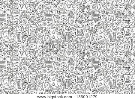 Pattern for coloring book with abstract figures. Indian, Asian, Ethnic, Floral zentangle doodle. Black and white background. Stock vector. Tribal