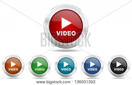 video round glossy icon set, colored circle metallic design internet buttons