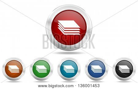 layers round glossy icon set, colored circle metallic design internet buttons