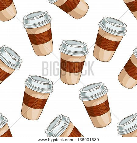 Seamless pattern coffee to go. Take away coffee cup. Vector illustration