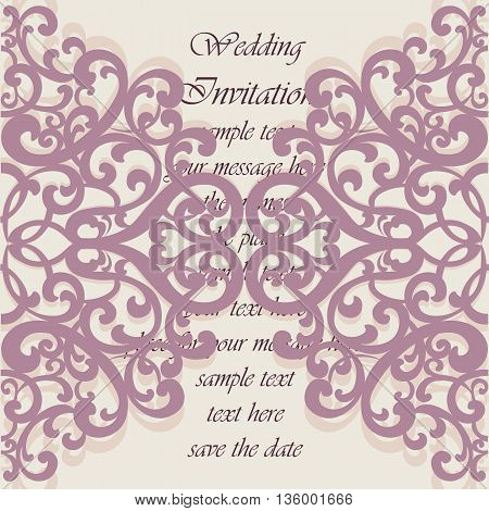Wedding Invitation card with lace ornament. Orchid haze color. Vector
