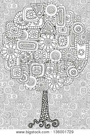 Artistic tree with floral ornament. Hand drawn doodle tribal. Made by trace from sketch. Ink pen. Black and white background. Zentangle patters.