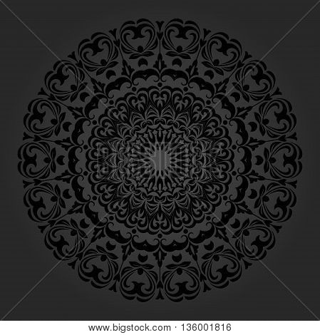 Elegant vector ornament in the style of barogue. Abstract traditional pattern with oriental elements. Black round pattern