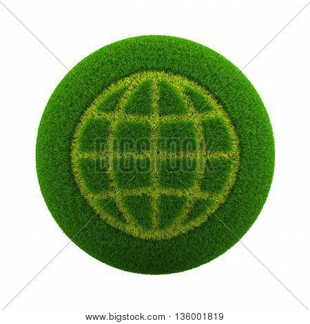 Grass Sphere World Meridians And Parallels Icon