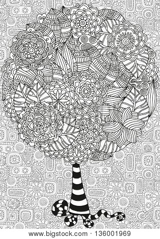Artistic tree with hand drawn leaves. Hand drawn, doodle, tribal. Made by trace from sketch. Ink pen. Black and white background. Zentangle patters.