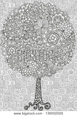 Artistic tree with floral ornaments. Hand drawn, doodle, tribal. Made by trace from sketch. Ink pen. Black and white background. Zentangle patters.