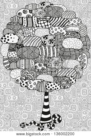 Artistic tree with hand drawn stones. Hand drawn, doodle, tribal. Made by trace from sketch. Ink pen. Black and white background. Zentangle patters.