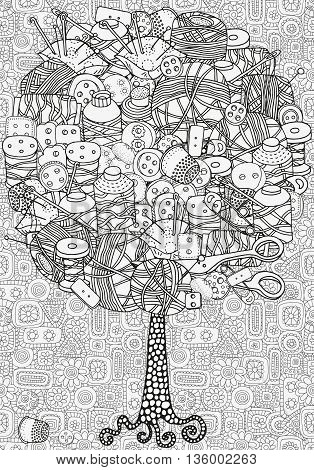 Artistic tree with hand drawn clothes buttons, needles, thread, pins, scissors. Hand drawn, doodle, tribal. Made by trace from sketch. Ink pen. Black and white background. Zentangle patters.