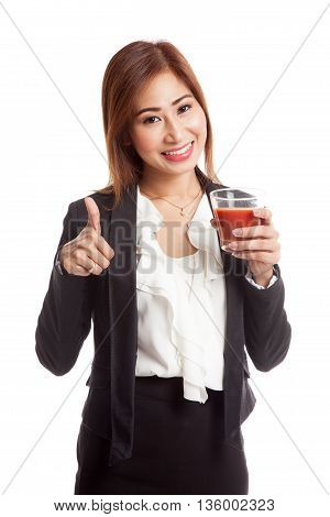 Young Asian Business Woman Thumbs Up With Tomato Juice