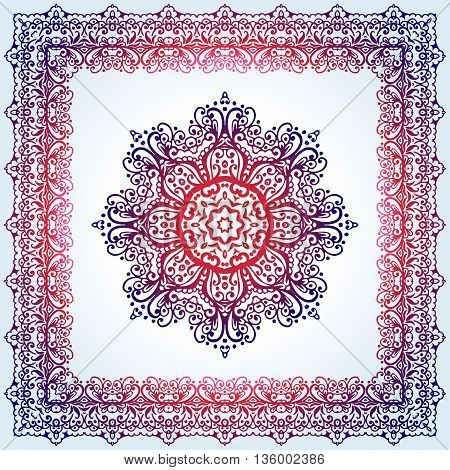 Elegant luxury vintage calligraphy frame and mandala. Template for greeting card, invitation, diploma. Illustration in retro style. Vecto
