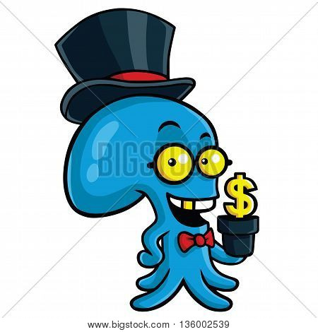 Filthy Rich Octopus Planting Money Cartoon Vector