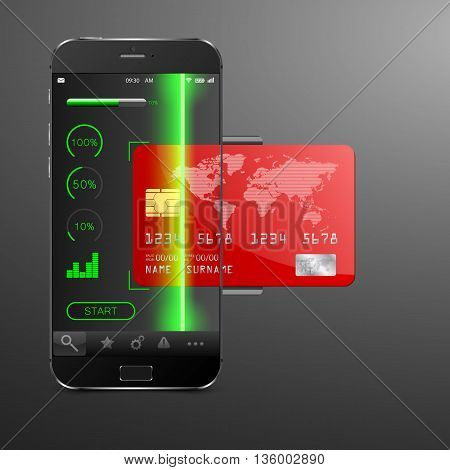 Mobile payment concept . Modern mobile phone with a credit card. Vector illustration