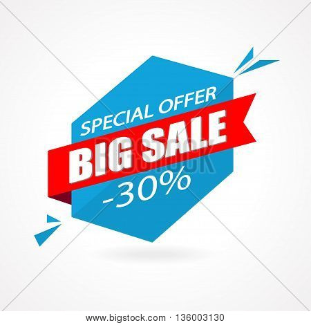 Discount 30 percent off - advertising vector banner in origami retro style. Big sale vector layout. Special offer concept sticker.