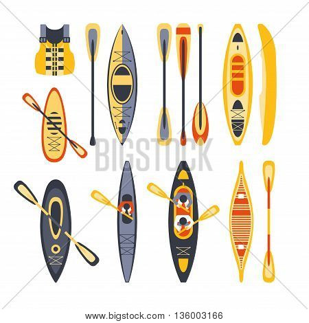 Canoe Sport Equipment Set Flat Simplified Cartoon Style Bright Color Vector Illustration On White Background