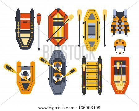 Rafting Boats And Gear Set Flat Simplified Cartoon Style Bright Color Vector Illustration On White Background