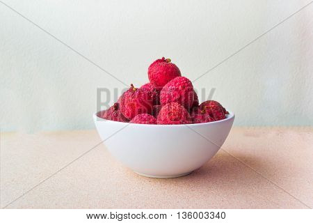 Lychee Fruit, Which Is Called Chinese Plum, Is On The Table Board And In Cup