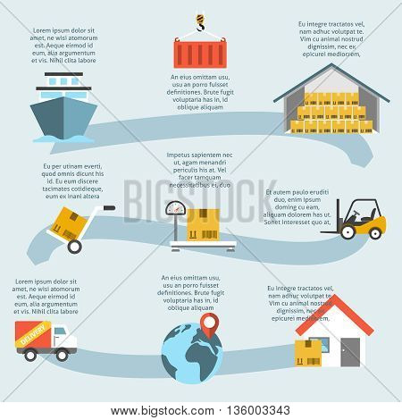 Logistic infogaphic and delivery process vector illustration