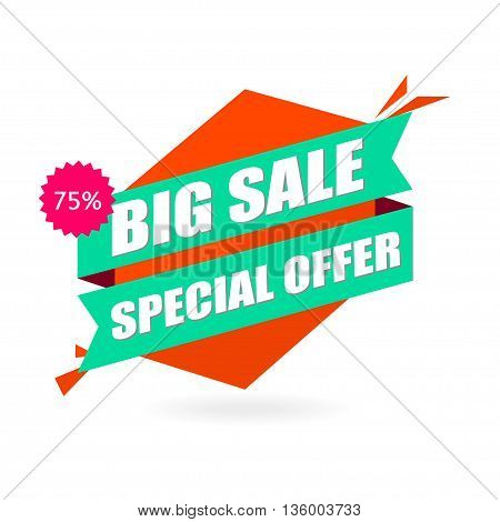 Advertising vector banner in origami retro style. Big sale vector layout. Special offer concept sticker.