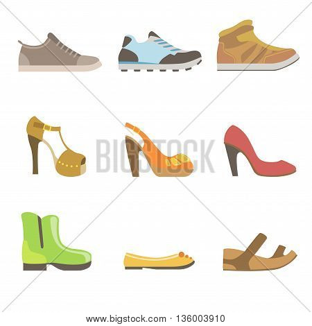 Different Shoes Set Flat Simplified Cartoon Style Bright Color Vector Illustration On White Background