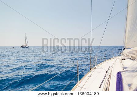 yacht sails open sea view background in Montenegro