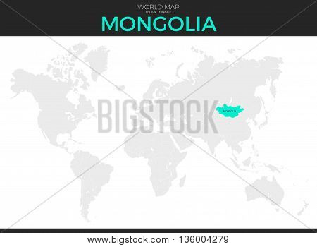 Mongolia location modern detailed vector map. All world countries without names. Vector template of beautiful flat grayscale map design with selected country and border location