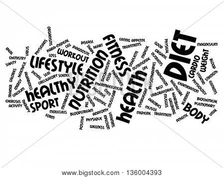 High resolution concept or conceptual abstract health word cloud or wordcloud on background