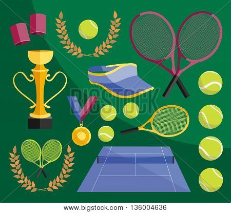 Colorful vector illustration of various stylized tennis icons set