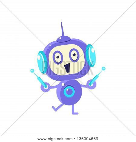 Happy Little Robot With Two Antennas Flat Childish Cartoon Style Vector Drawing Isolated On White Background