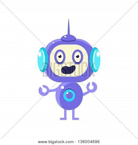 Confused Little Robot Flat Childish Cartoon Style Vector Drawing Isolated On White Background