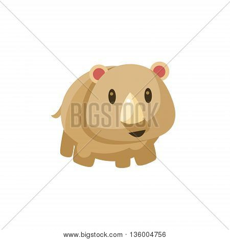 Grey Toy Tapir Cute Childish Style Bright Color Design Icon Isolated On White Background