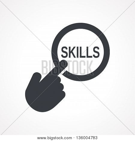 Vector hand with touching a button icon with word Skilles on white backgroud