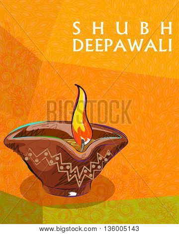 Vector design of colorful painted diya for Happy Diwali decoration wishing Shubh Deepawali Happy Diwali