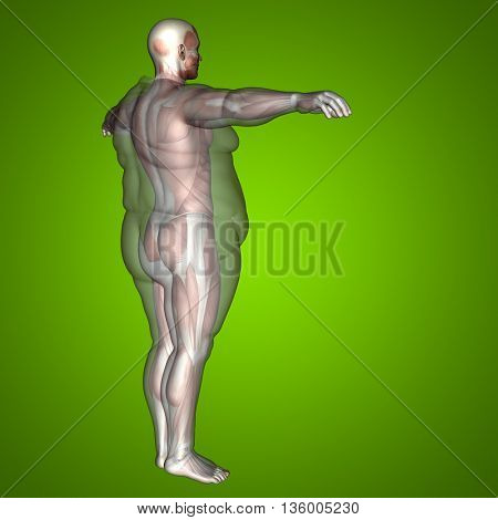 Concept or conceptual 3D fat overweight vs slim fit diet with muscles young man green gradient background  metaphor weight loss, body, fitness, obesity, health, healthy, male, dieting or shape