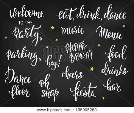 Party signs set Bridal shower Hen Birthday Wedding lettering sign quote typography. Calligraphy design for postcard poster graphics. Simple vector brush sign. Dance Party Chalk board design element