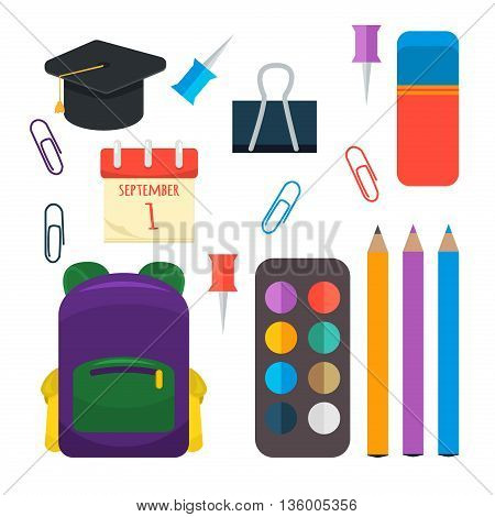 Selection of various individual school supplies on white background. Education vector pencil notebook school supplies. Learning accessories student school supplies back to school, stationery tools.