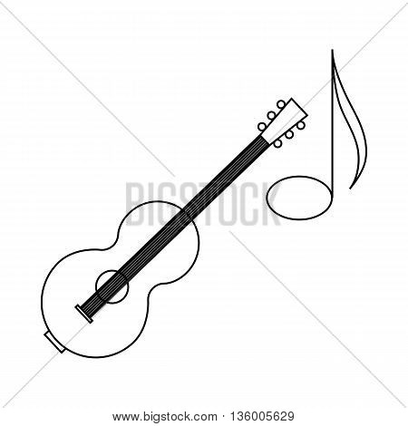 Acoustic guitar and note icon in outline style isolated on white background