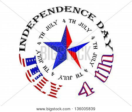 American Independence Day star and the inscription on the white background