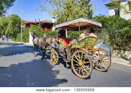 Istanbul Turkey - September 29 2013: Buyukada Princes' Islands also known as Istanbul is the largest of the islands off the coast. Buyukada motor vehicle is not being used such as Phaeton carriage taxi service is.
