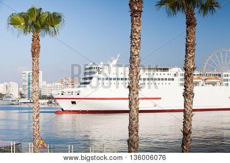 Big cruise ship leaving Malaga's port in Spain.