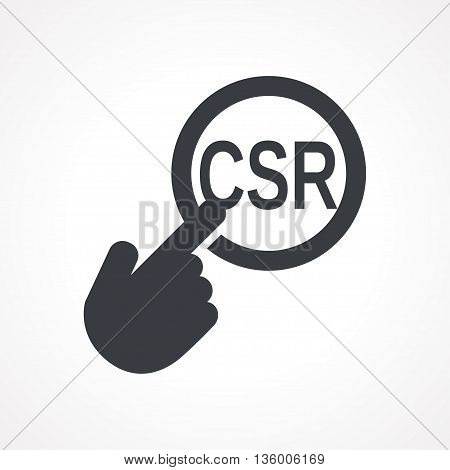 Vector hand with touching a button icon with word CSR on white backgroud