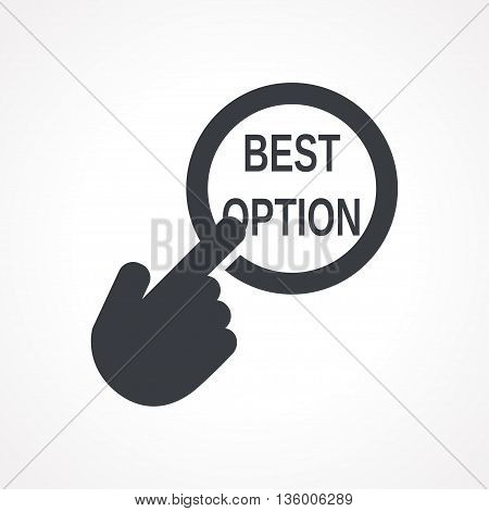Vector hand with touching a button icon with word Best option on white backgroud